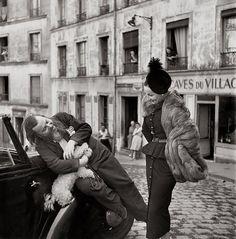 Christian Bérard with Dior house model Renée in the Marais (Paris), August 1947. Photo: Richard Avedon.