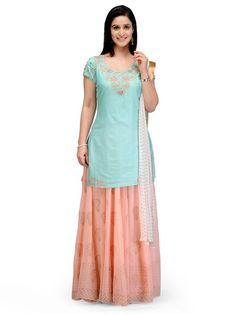 Shop Light Green Straight Silk Chanderi Suit Set online at Biba.in - SKD4386LGRN