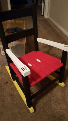 I made this Mickey Mouse rocking chair as a baby shower gift. #rockingchair…
