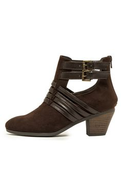 LEATHER ACCENT SUEDE BOOTS- Brown