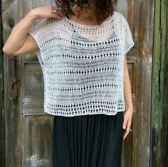 White Linen Loose Top Handknit Lase Vest Oversize Summer