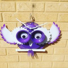 Garden owl made from recycled. Materials