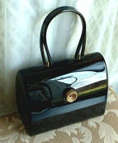Gorgeous WILARDY Vintage LUCITE Purse Handbag Black SIGNED c.1950's!