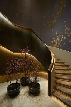 -use gold leaf, oriental wallpaper element. *北京华尔道夫酒店 Waldorf Astoria…