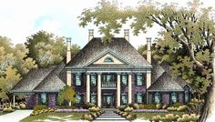 Elevation of Colonial   Plantation   Southern   House Plan 65614