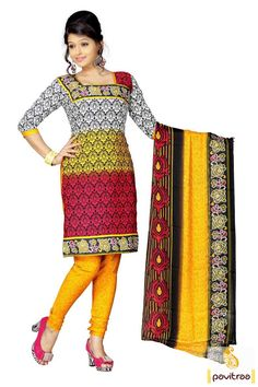 Pavitraa White with #Yellow Stunning Printed #Salwar Suits