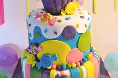 Rainbow Candy Cake in Partnership by Juniper Cakery with The Happy Egg Co.