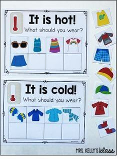 Dressing for the weather - temperature discussions for a weather unit Weather Activities for Kids Weather Activities Preschool, Teaching Weather, Preschool Curriculum, Preschool Science, Preschool Lessons, Classroom Activities, Preschool Activities, Science Education, Science Experiments
