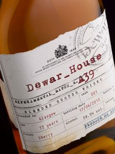 dewar's house scotch whisky // dewar's small batch experiments are strictly limited edition // packaging design by stranger & stranger Beverage Packaging, Tea Packaging, Bottle Packaging, Whiskey Label, Scotch Whiskey, Irish Whiskey, Stranger And Stranger, Limited Edition Packaging, Vintage Packaging