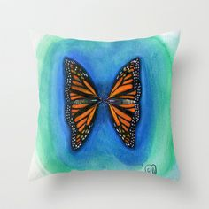 Butterfly Kisses Throw Pillow by Art by Elle - $20.00