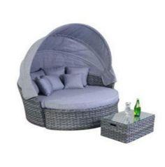 platinum grey rattan garden furniture large daybed - Garden Furniture Day Bed