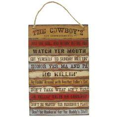 The Cowboy's Ten Commandments Plaque