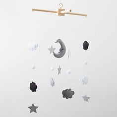 Felt Cloud, Moon And Star Mobile