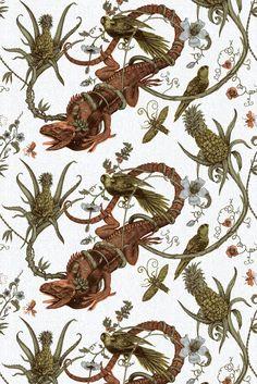 Timorous Beasties Fabric - Iguana fabric