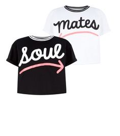 Teens 2 Pack White and Black Soul Mate Printed T-Shirts