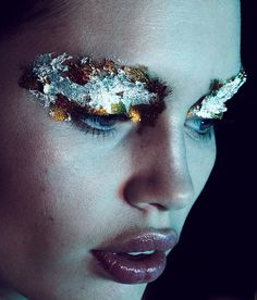 Kaleidoscope Prism Makeup Red Gold Glitter Lips Kiss Makeup Macro Staz Lindes | NEW YORK FASHION BEAUTY PHOTOGRAPHER- EDITORIAL COMMERCIAL ADVERTISING PHOTOGRAPHY