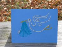 Hand embroidered stork card