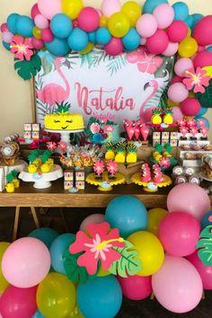 Flor S's Birthday / Hawaiian - Photo Gallery at Catch My Party Hawaiian Luau Party, Hawaiian Birthday, Luau Birthday, Tropical Party, Birthday Parties, Luau Theme Party, Birthday Party Decorations, Pink Flamingo Party, Flamingo Birthday