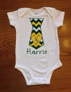 Personalized Baylor Bears Green and Gold Chevron Tie Bodysuit/Onesie for Baby Boy