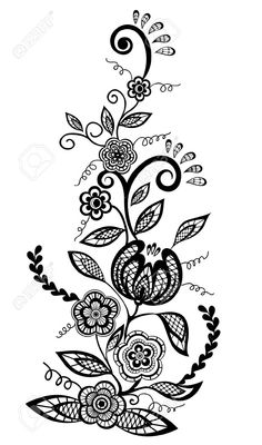 Black-and-white Flowers And Leaves Design Element Royalty Free ...