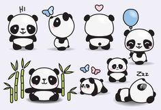 Premium Vector Clipart - Kawaii Pandas - Cute Pandas Clipart Set - High Quality Vectors - Instant Do - Griffonnages Kawaii, Panda Kawaii, Chibi Panda, Kawaii Drawings, Easy Drawings, Weihnachten Vektor, Panda Mignon, Panda Lindo, Illustrator