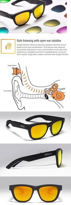 Smart Glasses: New! Zungle Panther Sunglasses Bluetooth Headphones (Black Frame Only) -> BUY IT NOW ONLY: $180 on eBay!