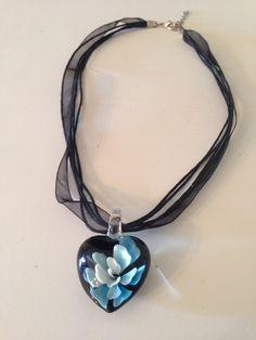 Blue flower heart Necklace