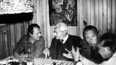 Adam Michnik, Jerzy Turowicz, Czesław Miłosz i Piotr Słonimski