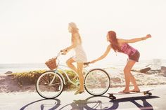 This would be a fun photoshoot! Bikes & Skateboards at the beach with friends. Have your friend pull you along!