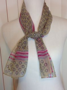 Vintage Long Pink and Beige Sheer Scarf with Flowers and Stripes by Oldtonewjewels on Etsy