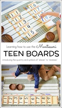 "Teaching the ""teens"" to the child using Montessori Teen Boards Math Activities For Kids, Montessori Activities, Math For Kids, Fun Math, Teaching Kids, Dinosaur Activities, Teaching Geography, Number Activities, Counting Activities"