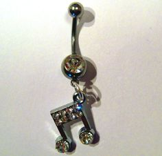 Belly Button Ring Barbell Clear Crystal Silver Tone Musical Note. $18.00, via Etsy.