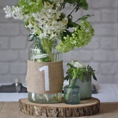 Hessian Table Numbers Set Of 12 Burlap