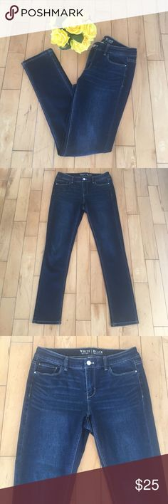 "• whbm • dark wash • Stretch Jeans • Dimensions: inseam 29"", 37.5"" long, and 16"" across hips lying flat. Material: cotton and spandex.  Jeans are in excellent condition. No Trades. Price is firm. Bundle to save 10% on 2 or more items. White House Black Market Jeans Skinny"