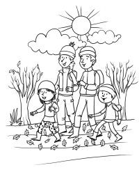 Children Plant Tree coloring page for kids, spring