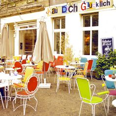 Kauf Dich Gluecklich on Oderberger Strasse in Prenzlauer Berg - the place to go for the best waffles in Berlin! Berlin Ick Liebe Dir, Iron Patio Furniture, Wicker Furniture, Outdoor Furniture, Berlin Photos, Eurotrip, Berlin Germany, Study Abroad, Germany Travel