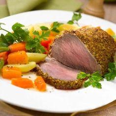 Filet de bœuf en croûte de moutarde et petits légumes