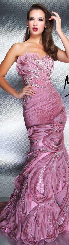 Mac Duggal couture dress rose