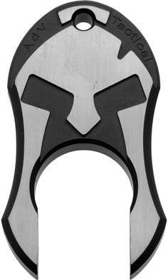 Andre De Villiers Knives Black Anodized Titanium Spartan Knuck, Polished Flats