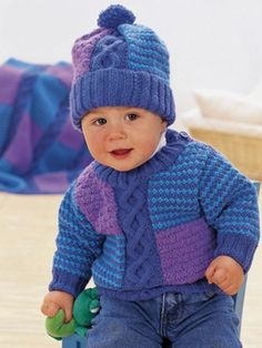 Cables and Checks Set | Yarn | Free Knitting Patterns | Crochet Patterns | Yarnspirations FREE KNIT PATTERN