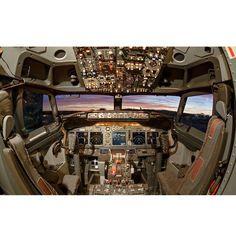@planephotos_dub  Enter Air 737-8AS cockpit with a beautiful sunset outside! - - By Sebastian Lewendowski