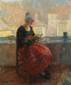 """""""A young woman reading on a balcony"""" by Carl Schmitz-Pleis (1877-1943)"""