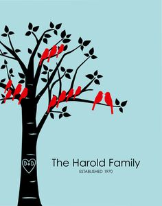"""Personalized Custom Love Birds Family Tree -Anniversary Gift for Grandparents -  8""""x10"""""""