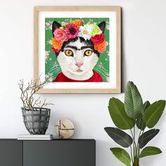 Frida Khalo inspired Cat #design on Fine Art Paper #autism #autismawareness #catart #catprint #artprintsforsale #artprint #gicleeprint #catdecor #catlovers #catgiclee #cats