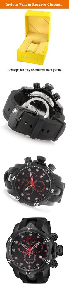 Invicta Venom Reserve Chronograph Black Dial Black Polyurethane Mens Watch 18881. Not all venoms are worth avoiding. Invicta's line of Venom watches features brilliant timepieces that are a pleasure to look at and wonderful to utilize. Shiny cases and dials chronicle these watches, and luminous hands and markers ensure a quick and easy time-telling experience.