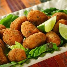 """My favorite tapa in Spain """"croquetas con limon"""" - croquettes with ham Vegan Vegetarian, Vegetarian Recipes, Cooking Recipes, Healthy Recipes, Sauce Recipes, Good Food, Yummy Food, Crescent Rolls, Veggie Recipes"""