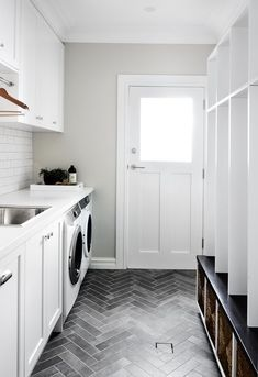 Mudroom Entryway - mud room laundry, locker style, shaker cabinets, herringbone floor, grey and whi. Mudroom Laundry Room, Laundry Room Remodel, Laundry Room Cabinets, Laundry Room Floors, Laundry Bathroom Combo, Mudrooms With Laundry, Laundry Room With Sink, Mud Room Lockers, Laundry In Kitchen