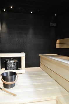 Harvia Cilindro H embedded on a lower sauna bench Wc Bathroom, Bathroom Toilets, Home Steam Room, Modern Saunas, Sauna Wellness, Piscina Spa, Indoor Sauna, Spas, Sauna Design
