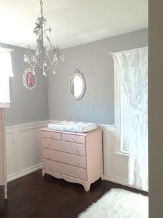 Shabby chic nursery pink gray. Annie Sloan chalk paint Antoinette baby girl nursery ideas