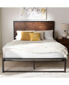 Berta Industrial Wood And Metal Queen Bed Industrial